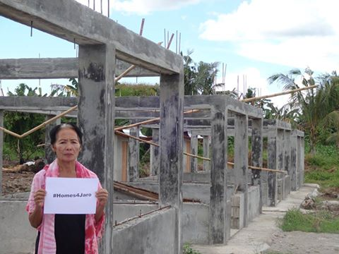 A resident of Jaro appeals for the release of the wood that will be used to rebuild their homes. Photo from the Citizens' Disaster Response Center Foundation