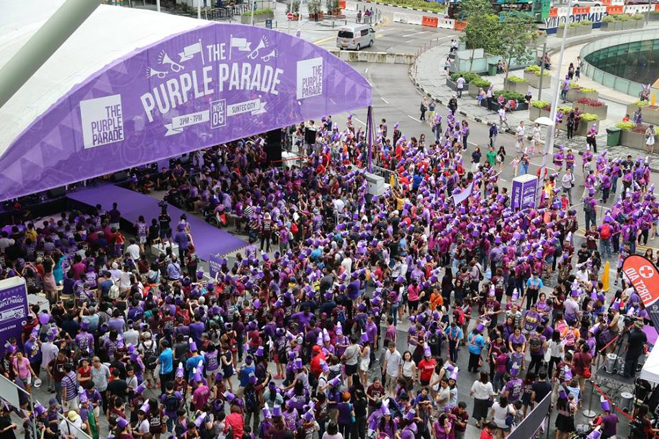 About 10,000 people joined the Purple Parade in Singapore. Source: Official Facebook event page