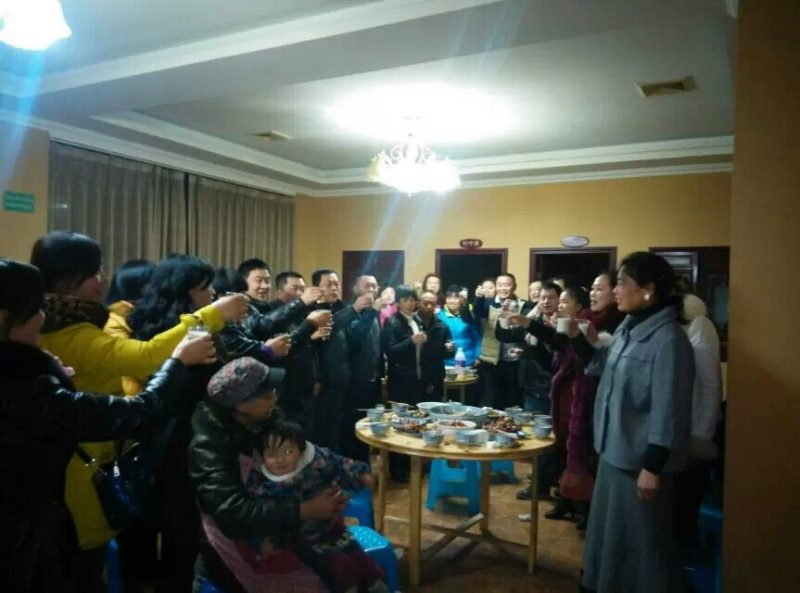 Huang Qi celebrating with Tianwang volunteers after being released from prison in 2011. Photo: Supplied by Huang Qi.