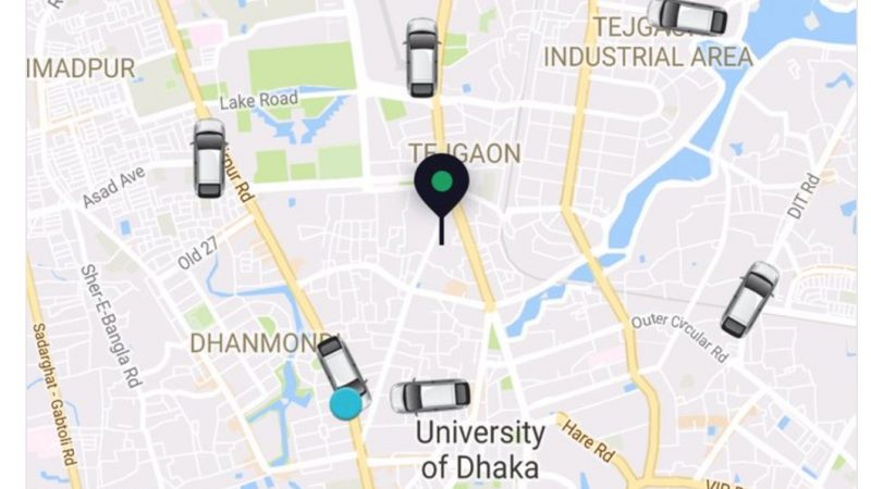 Screenshot from a Uber map. Via Mujtaba Morshed