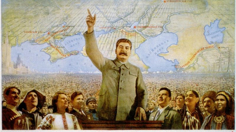 Soviet leader Josef Stalin, created the benchmark for personality cults in the modern era. Soviet poster widely distributed.