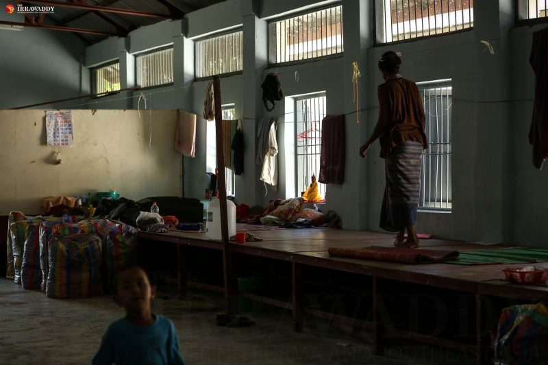 The warehouse of the Relief and Resettlement Department's Rangoon office in Mayangone Township, where 17 returnees are being provided temporary shelter. Photo and caption by Hein Htet/The Irrawaddy.