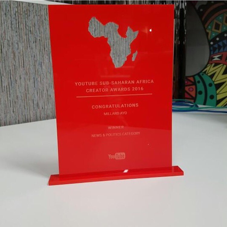 Award for Tanzanian journalist Millard Ayo. Image shared on his Twitter page @millardayo.