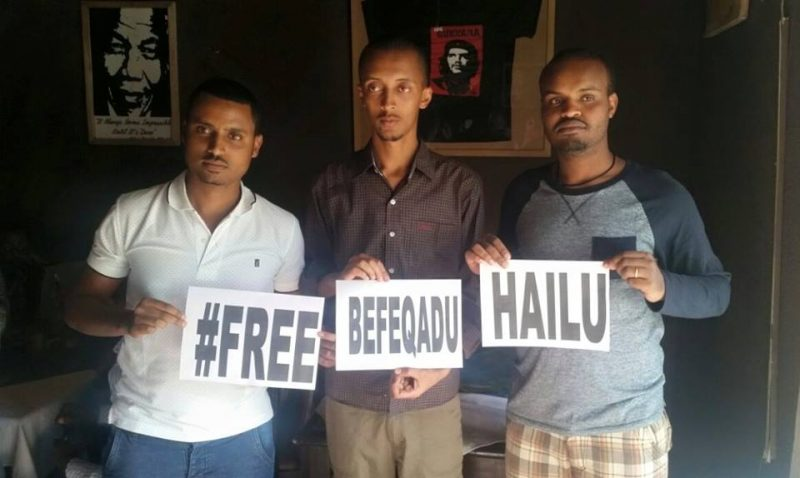 Zone9 bloggers Atnaf Berahane, Natnael Feleke and Abel Wabella advocate for Befeqadu's release in 2015. Image shared widely on Twitter.
