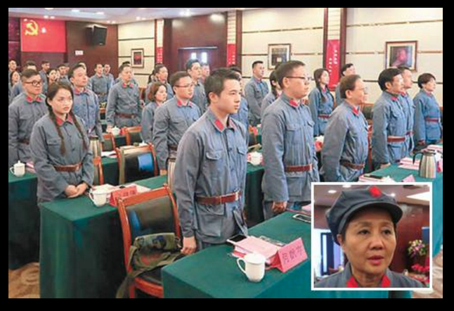 During the four-day training, members of the Ginggang mountains tour dressed like soldiers of the red army. Viral online photo.