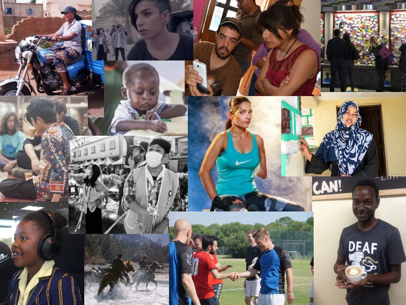 A collage of photos from Global Voices coverage in 2016. Created by L. Finch.