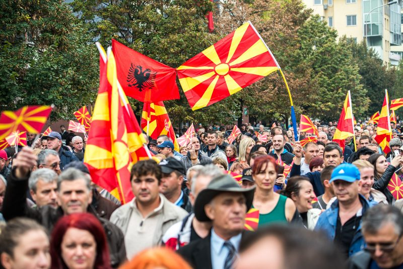 Albanian and Macedonian flag joined at anti-fascist protest in Skopje on October 11, 2016. Photo by Vančo Džambaski, CC BY-NC-SA.