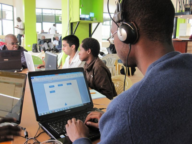 Hackathon at iHub, a technology incubator in Nairobi, Kenya. Photo by Erik Hersman via Flickr (CC BY 2.0)