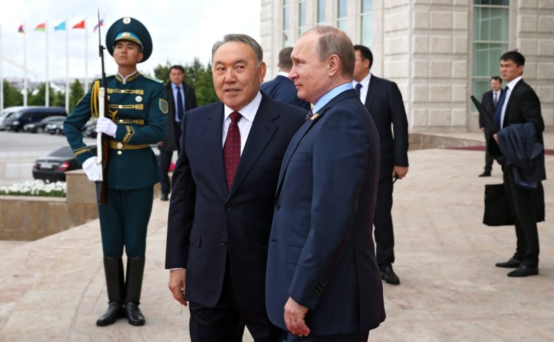 Kazakh leader Nazarbayev and Russian President Vladimir Putin in the Kazakh capital Astana.