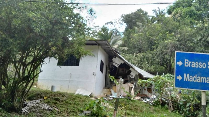 A damaged house in the Brasso Seco area in northeastern Trinidad. Photo by Kelly Warren-Fitzjames, used with permission.