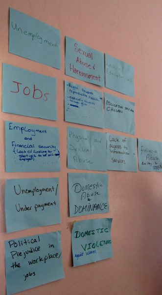 Besides unemployment, the issue of violence and abuse -- domestic violence in particular -- was the top concern among rural women at a workshop organized by the 51% Coalition and Fi Wi Jamaica in rural areas of the country in March, 2016. Photo by the author, used with permission.