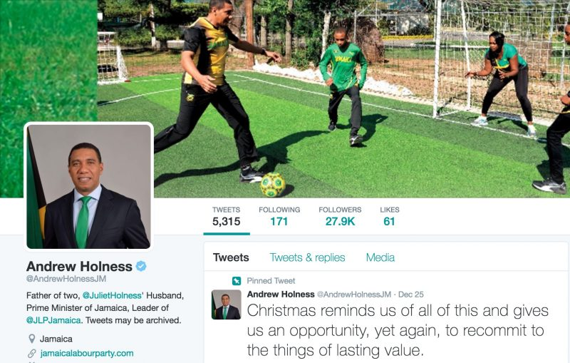 Screen grab of Jamaican Prime Minister Andrew Holness' Twitter page.