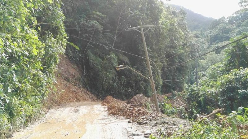 A landslip on the main road heading out to the town of Arima in Trinidad. Photo by Kelly Warren-Fitzjames, used with permission.