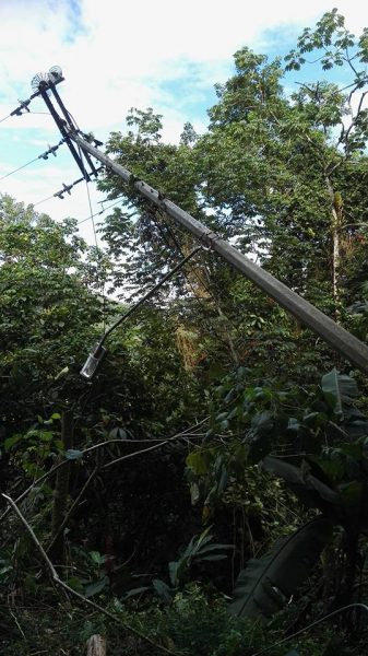 A precariously leaning light pole in the area -- one result of the heavy rains, landslips and flooding. Photo by Kelly Warren-Fitzjames, used with permission.