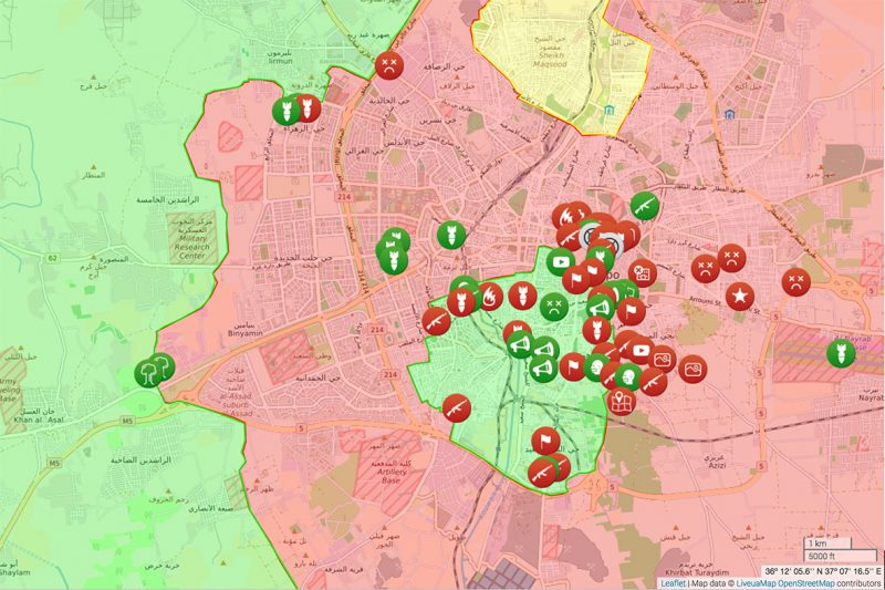 "Syria liveuamap of Aleppo depicting verified events on December 7, 2016, as Aleppo was falling. Liveuamap is an ""opendata-driven media platform"" that tracks events in conflict by time, location and type. http://syria.liveuamap.com/en/time/07.12.2016"