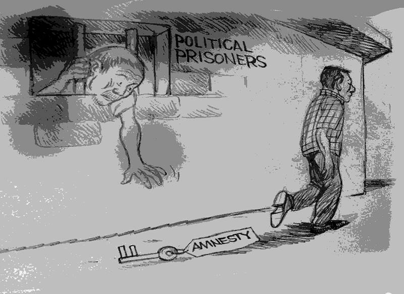 Cartoon about the situation of political prisoners by Leonilo Doloricon. Source: Facebook