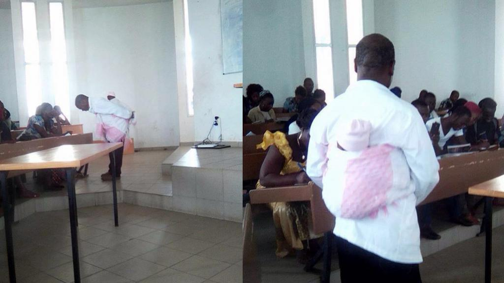 Honoré Kahi, a professor at Alassane Ouattara University in Bouaké, has become a social media celebrity after strapping the baby of one of his students to his back so that the mother could continue to focus on the class. Source: Site De Rencontre Des Etudiants De L'afrique