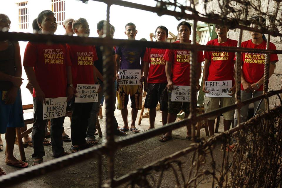 Political prisoners from Compostela Valley Provincial Rehabilitation Center, located in the southern part of the Philippines, are also holding a solidarity fast. Source: Facebook