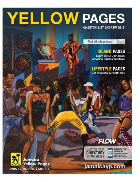 Artist Lennox Coke's controversial dancehall image adorning the cover of the Jamaican Yellow Pages directory. Image courtesy Joel Nomdarkham, used with permission.