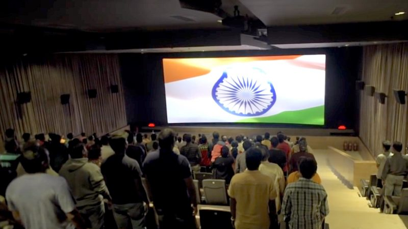 Chennai theatres play the national anthem before the main picture starts rolling, in accordance with the Supreme Court's ruling. Screenshot from YouTube Video by Netalert The Hindu