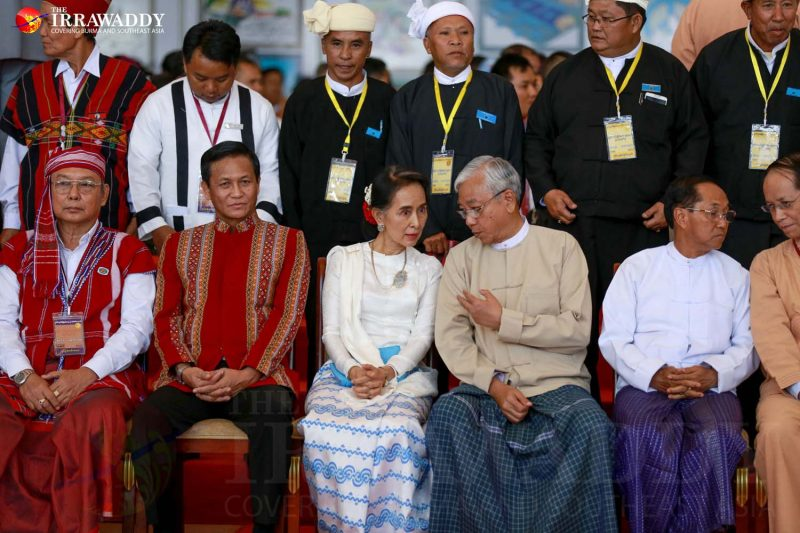 Myanmar's President U Htin Kyaw talks to Daw Aung San Suu Kyi after the 21st Century Panglong peace conference on Sep. 3 in Naypyidaw. (Photo: Pyay Kyaw / The Irrawaddy)