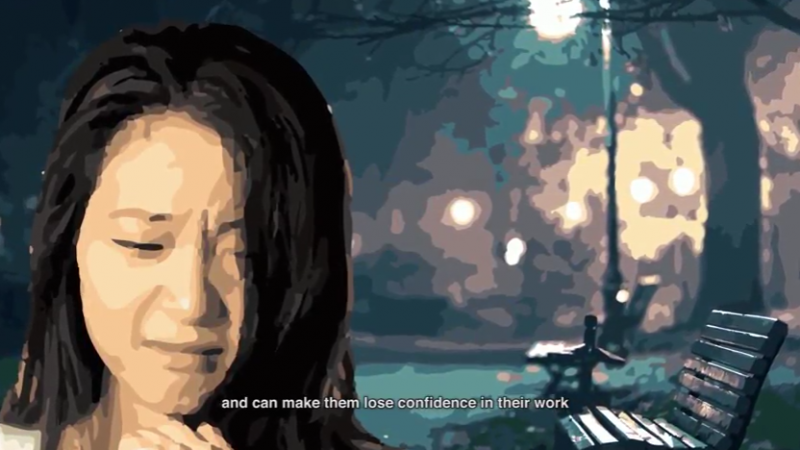 Screenshot from one of the short films depicting the impact of sexual harassment on women. Source: YouTube