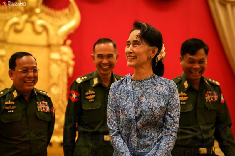 Daw Aung San Suu Kyi and senior military officials photographed during the official power transition ceremony on March 30 in which Myanmar's outgoing President U Thein Sein handed over the presidential insignia to new President U Htin Kyaw at the presidential residence in Naypyidaw. (Photo: Hein Htet / The Irrawaddy)