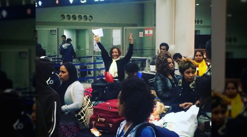 Sujana Rana at Beirut's airport facing deportation. She waves to the crowd of supporters who came to protest her deportation. Taken on December 10, 2016. Source: Facebook.