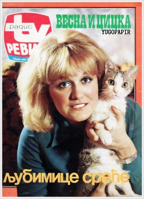 "Front page of the April 1973 edition of Radio TV Revija, featuring Vesna Vulović and her cat Cicka as ""Luck's Favorites."" Used with permission by Yugopapir."