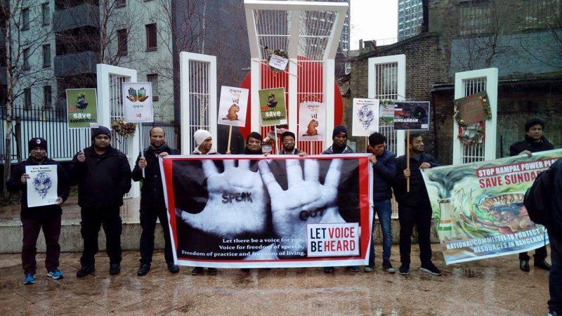 Demonstration in London. (Photo: Facebook.com/SaveSundarbans.SaveBangladesh)