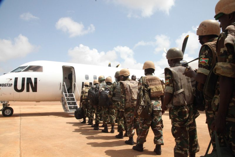 Burundian troops board AMISOM plane. 28 June 2016. By AMISOM Photo / Ramadan Mohamed.