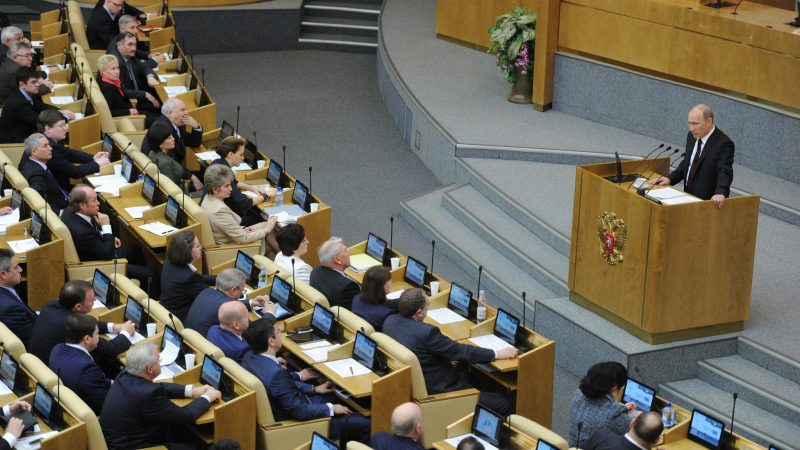 Russian President Vladimir Putin addresses the State Duma in 2012. Source: Mitya Aleshkovsky, Flickr.