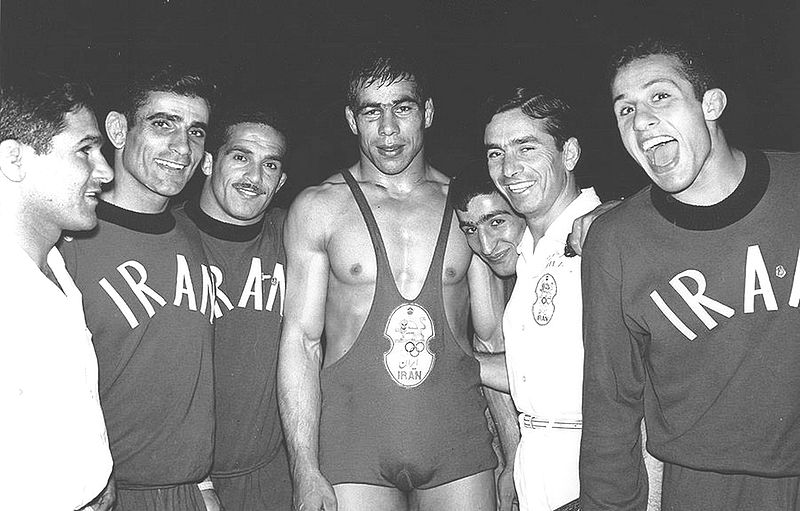 Gholamreza Takhti (middle) in an undated picture in Iran. (Source Wikimedia Commons)