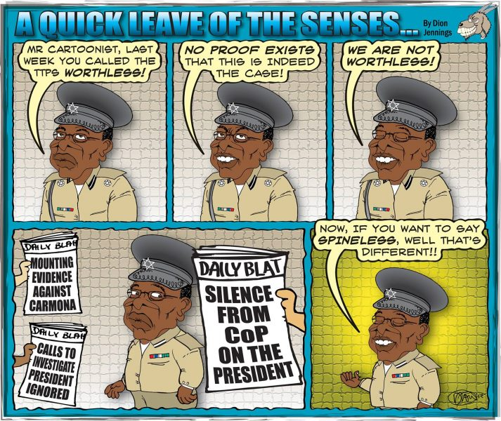 Cartoonist Dion Jennings' assessment of the Trinidad and Tobago Police Service's performance when it comes to investigating allegations of financial mismanagement by the country's president. Widely shared on Facebook.