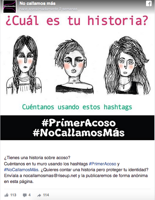 ¿Cuál es tu historia? (What is your story?) Screenshot from Facebook. Tell us using this hashtags: #PrimerAcoso (First Assault) #NoCallamosMás (We don't stay silent anymore)