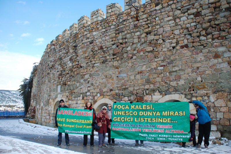 Supporters from Turkey standing in front of a World Heritage site in Izmir to show their solidarity with the Global Day of Protest. (Photo: 350.org Turkey)