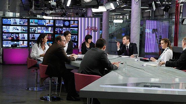 Russian Prime Minister Dmitry Medvedev in Dozhd's studios. Source: Kremlin.ru