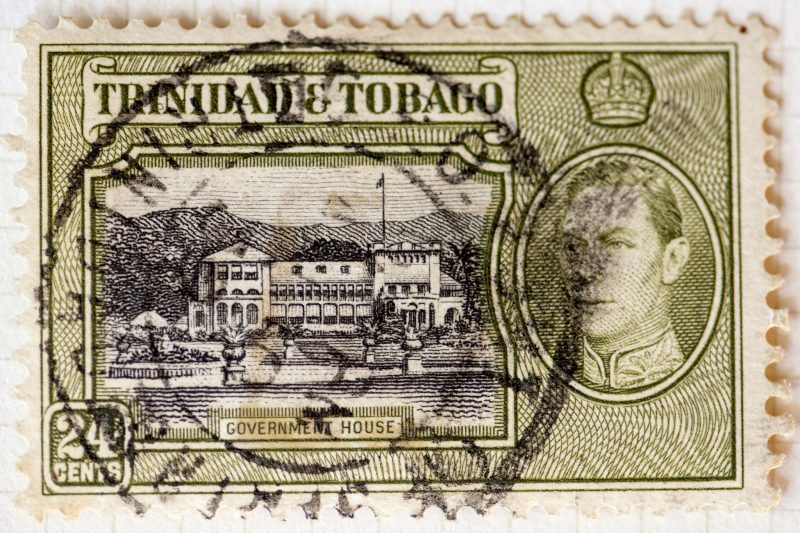 "Formerly referred to as ""Government House"", the image shows a stamp with an illustration of President's House in Trinidad and Tobago, which has been under repair for some years now. Photo by Mark Morgan, CC BY 2.0."