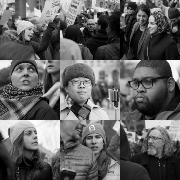 Faces of participants of the No Muslim Ban protest at Lafayette Park, in Washington D.C., January 28, 2017. Photos: Ivan Sigal