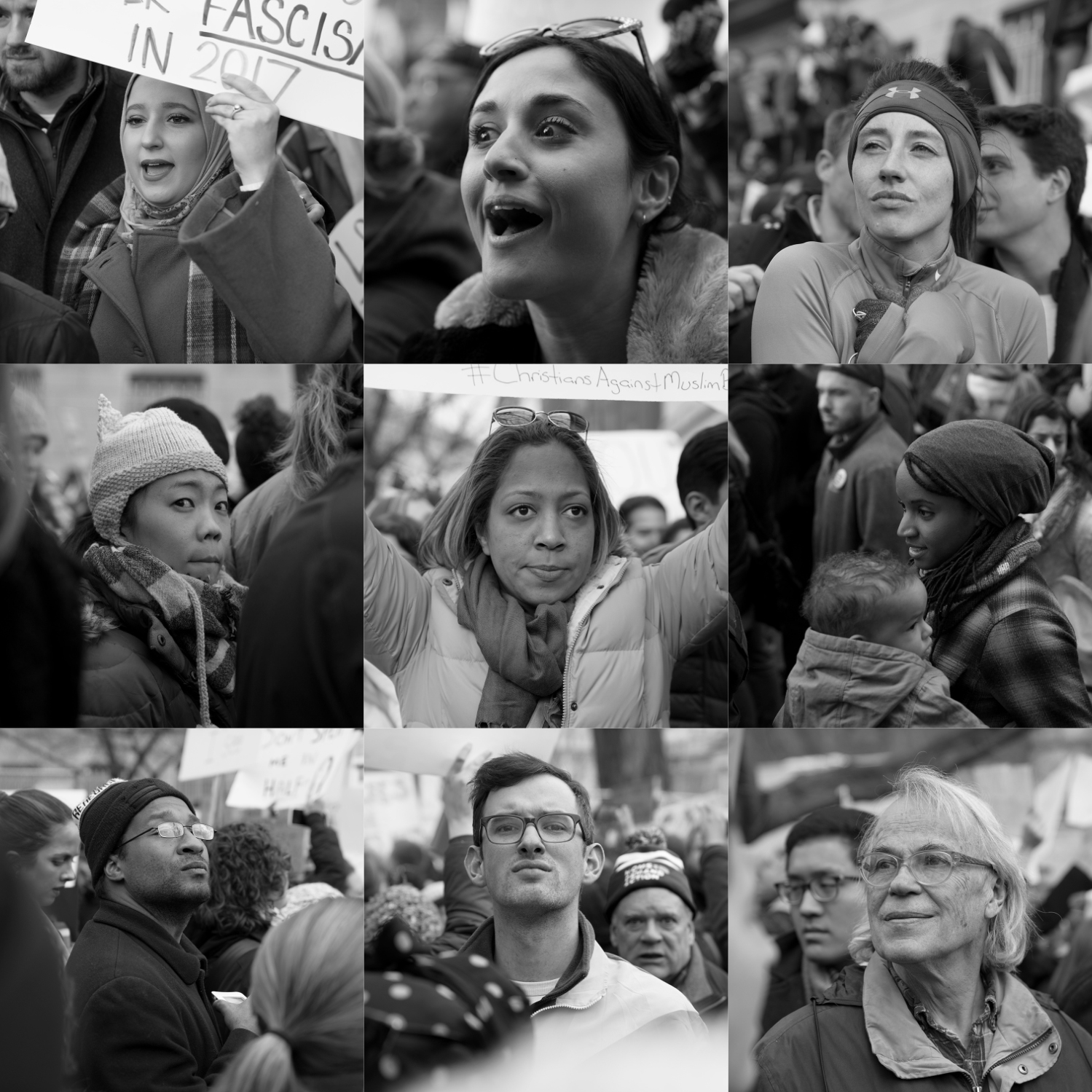 Faces of participants of the No Muslim Ban protest at Lafayette Park, in Washington D.C., January 29, 2017. Photos: Ivan Sigal