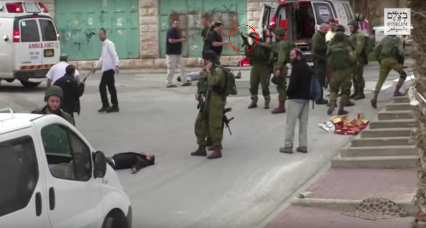 Screenshot of the footage released by B'Tselem showing the moment Azaria decided to shoot Al-Sharif. Source: B'Tselem.