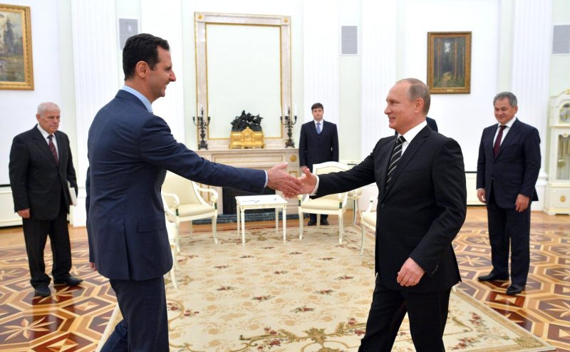 President of Syria Bashar Assad greets Russian president Vladimir Putin at the Kremlin in October 2015. PHOTO: Web site of President of Russia (CC BY 4.0)