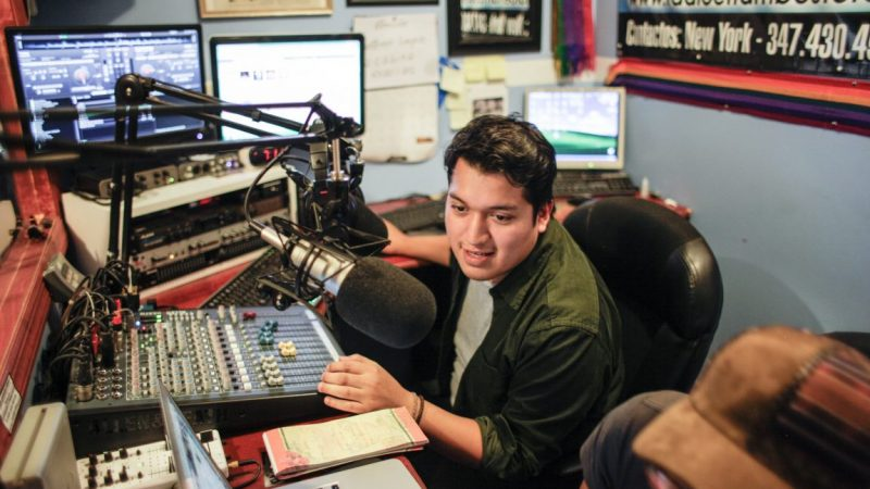 Charlie Uruchima in Radio El Tambo Stereo in Bronx, Photo by Itzel Alejandra Martinez for Remezcla. Used with permission.