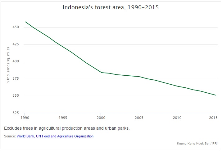 Indonesia's shrinking forest area. See the full interactive map on PRI.org.