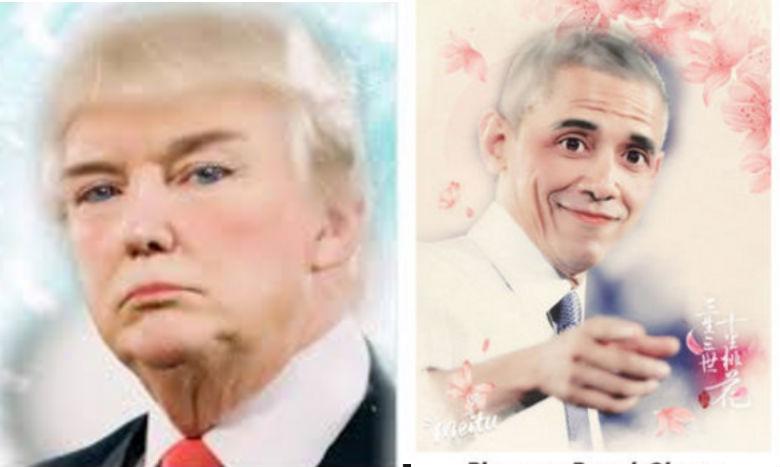 Donald Trump and Barack Obama beautified by Meitu app.