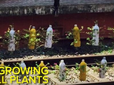 Discarded Plastic Bottles Become Blooming Plant Barricades at an Indian Railway Station