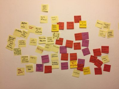 What planning session is complete without a cloud of sticky notes on a wall?