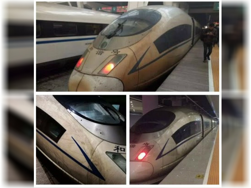 High speed train from Shanghai to Beijing covered with dirt from smog. Collage from Weibo.