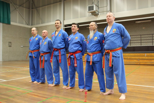 Masters are awarded the red belt, signifying a mastery of Vovinam at the blood level. Photo from Loa
