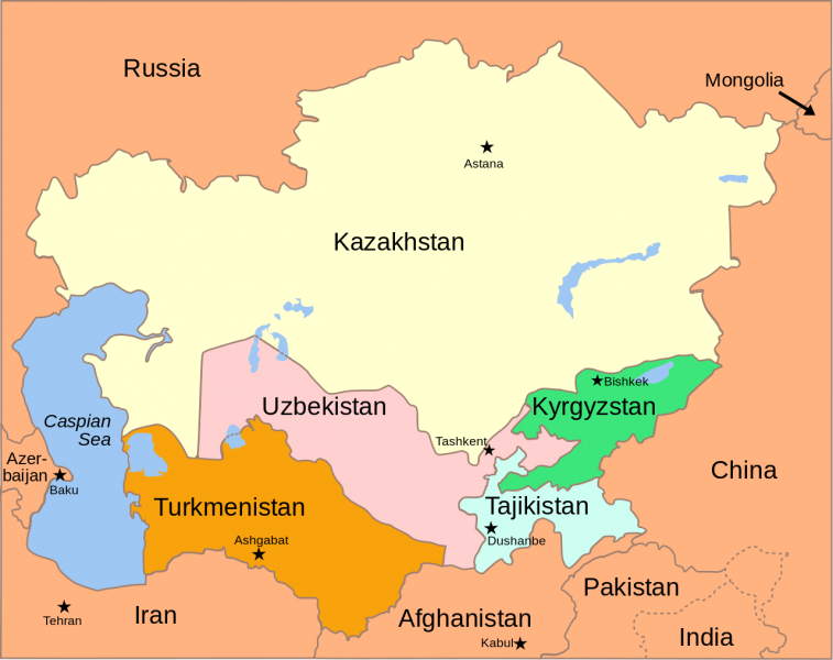 "Central Asia political map. <a href=""https://commons.wikimedia.org/wiki/File:Central_Asia_-_political_map_2008.svg"">Licensed </a>under the Creative Commons Attribution-Share Alike 3.0 Unported license."